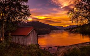 Природа: закат, Норвегия, озеро