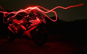 Мотоциклы: Susuki GSX750R, красный, неон