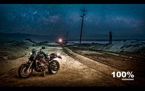 Мотоциклы: Ducati, Железная дорога, черный, ночь, street fighter