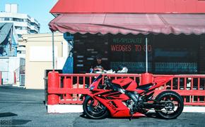 Мотоциклы: Honda CBR1000RR, красный, кафе, маятник