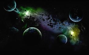 Космос: планета, небо, астероид, вселенная, кольца