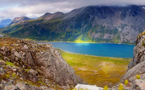 Пейзажи: солнце, горы, Норвегия, вершина, море