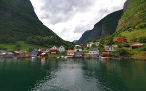 Пейзажи: Норвегия, деревня, фьорд, домики, горы