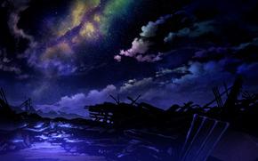 Космос: ночь, арт, звезды, свет, облака, небо