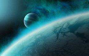 Космос: небо, туманность, свет, вселенная, планета, спутник