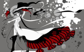 Обои Стиль: платье, девушка, стиль, шляпа, аниме, чернила
