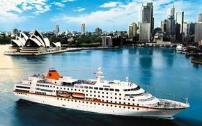 Корабли: Корабли, судно, транспорт, лайнер, круизный лайнер, параход, корабль, город, Сидней
