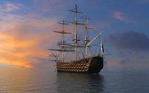 Корабли: Корабль, парусник.яхта, судно, корабли, фригат, 3D, рендеринг