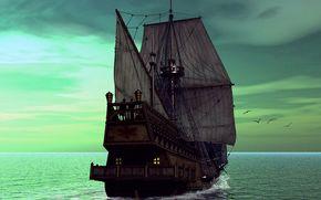 Корабли: Корабль, парусник.яхта, судно, корабли, фригат, 3D