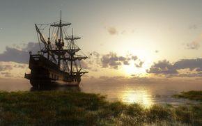 Корабли: Корабль, парусник.яхта, судно, корабли, фригат, 3D, рендеринг, море