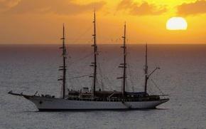 Корабли: Корабль, парусник.яхта, судно, корабли, фригат, море, закат, пейзажи