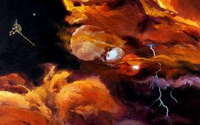 Космос: Космос, небо, фантастика, парашют, зонд, станция, спутник, полёт
