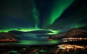 Природа: Лофотенские острова, Норвегия, ночь, северное сияние, скалы, небо, море