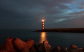 Пейзажи пирс сумерки пляж маяк море