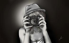 Обои Стиль: девушка, руки, фотоаппарат, рисунок, комиксы, аниме, шляпа