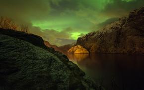 Пейзажи: северное сияние, ночь, Норвегия
