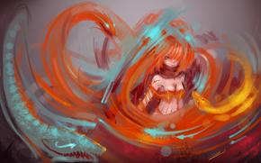 Обои Разное: взгляд, рыжие, девушка, дракончики, живопись, закручивание, аниме, стрелки, волосы