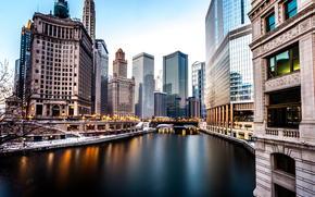 Город: Небоскребы, Зима, Америка, Река, Чикаго, Вечер, Здания