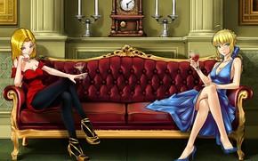 Аниме: интерьер, диван, арт, бокалы, вино, девушки