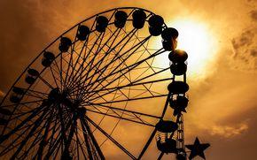 Обои Настроения: закат, аттракцион, красивые картинки, воспоминания, колесо обозрения, черный, настроения, полноэкранные, обои, силуэт, широкоформатные, время, солнце, широкоэкранные, небо, ностальгия