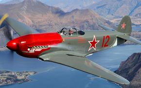 Авиация: истребитель, самолет, море, полет, горы, ландшафт, пилот
