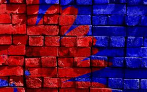 Текстуры: Стена, кирпич, краска, рисунок, цвет, синий, красный, текстуры