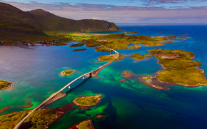 Пейзажи: Норвежское море, Норвегия, Лофотенские острова, мост, архипелаг
