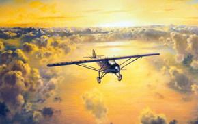 Авиация: Атлантику, Нью-Йорка, Чарльз Линдберг, из, одноместный, солнце, рисунок, в, Париж, самолёт, небо, пилот, через, перелёт, облака