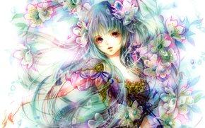 Аниме: цветы, девушка, аниме, арт
