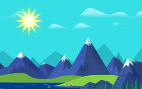 Минимализм: море, горы, самолет, пейзаж, небо