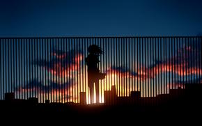Аниме: забор, арт, закат, силуэт, дома, облака, девушка, аниме, солнце, небо