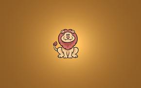 Минимализм: животное, лев, улыбка, сидит, минимализм
