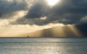 Минимализм: море, пейзаж, лодка