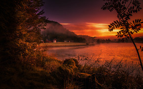 Природа: река, Ругаланн, закат, туман, Норвегия, берег
