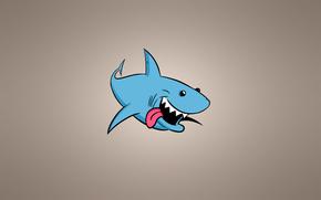 Минимализм: акула, рыба, минимализм, светлый фон