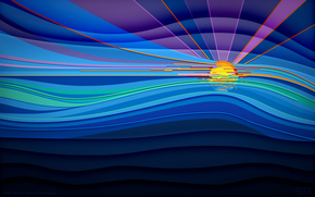 Минимализм: лучи, море, солнце, линии, небо