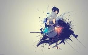 Аниме: Наруто, кусанаги, креатив, меч, Саске Учиха