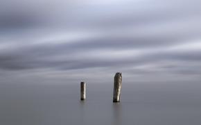 Минимализм: столбы, минимализм, море