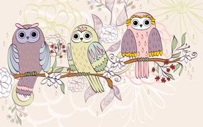 Текстуры: цветы, совы, текстура, птицы, ветка