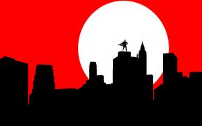 Минимализм: луна, бэтмен, силуэт, маска, город, плащ