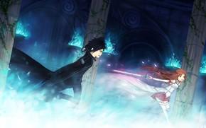 Аниме: меч, девушка, мастер меча онлайн, парень, оружие, огонь, сражение, магия, колонны