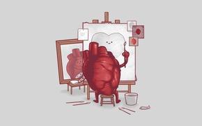 Минимализм: художник, кисть, холст, краски, сердце