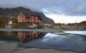 Пейзажи: лужи, после дождя, дом, тучи, Лофотен, Норвегия