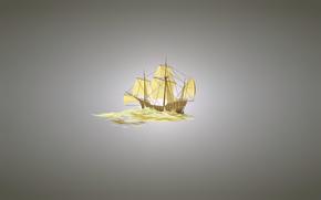 Минимализм: парусник, минимализм, корабль, светлый фон
