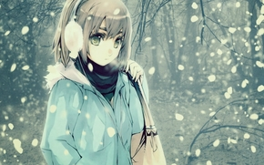 Аниме: волосы, зима, сумка, снег, аниме, холод, взгляд, девушка