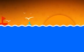 Минимализм: кораблик, солнце, птицы, волны, небо, море, пейзаж
