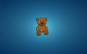 Минимализм: игрушка, синий фон, медведь, сидит, минимализм