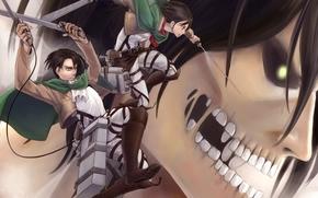 Аниме: вторжение гигантов, парень, оружие, зубы, арт, девушка, титан, аниме