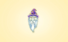 Минимализм: борода белая, колпак, фиолетовый, волшебник, голова, месяц, Мерлин, гипноз глаза, минимализм, звезда