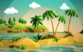 Минимализм: облака, море, пейзаж, пальмы, деревья, небо, остров